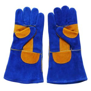 Double Palm Cowhide Split Leather Welding Hand Gloves pictures & photos