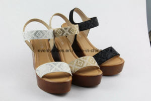 Diamond Printed Fashion Lady Shoes with Wedge Design pictures & photos