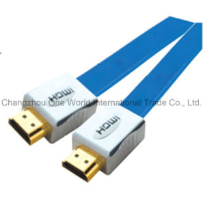 Flat Metal Assembly HDMI 19pin Plug to Plug Cable pictures & photos
