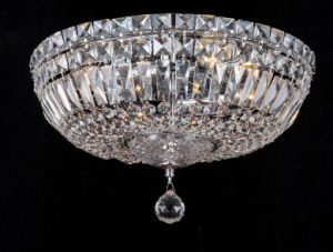 Long Life Round Base Antique Ceiling Light with Crystal Glass
