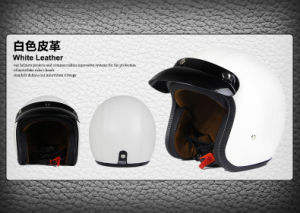 Leather Half Face Helmet for Motorcycle/Bicycle with DOT Approved pictures & photos