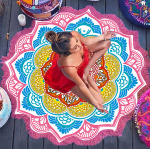 The Latest Microfiber Yoga Mat Colourful Lotus Bech Towels with Tassels