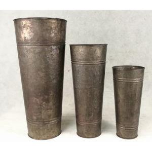 Round Tin Galvanized Indoor&Outdoor Flowerpot Vase pictures & photos
