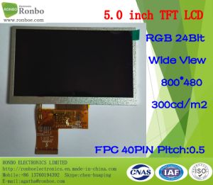 "5.0"" 800*480 RGB 40pin Wide View 300CD/M2 TFT LCD Display pictures & photos"