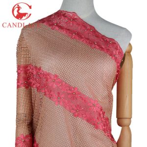 Fashion Embroidery Beaded Tulle Lace Fabric Factory in China pictures & photos