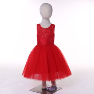 Satin Tulle Red/White/Ivory/Turquoise Flower Girl Dress pictures & photos