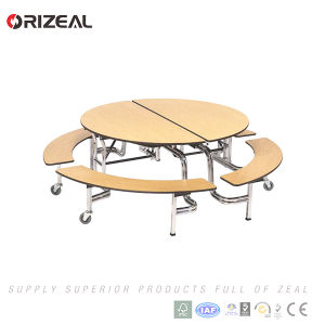 Orizeal School Used Mobile Dining Folding Table with Stainless Steel Dining Table Legs pictures & photos