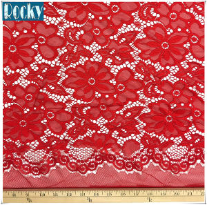"58"" Embroidered Poly Spandex French Floral Stretch Lace Fabric pictures & photos"