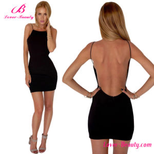Sexy Black Backless Party Women Dress pictures & photos