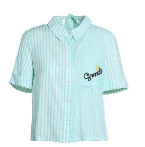 Summer Stripe Round Neck Short Sleeve Fresh Ladies Shirts pictures & photos