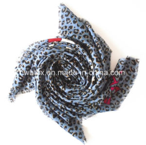 fashion Aw Leopard Printing Polyester Square Scarf (HWBPS111) pictures & photos