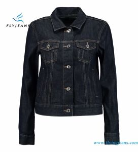 Fashion Dark Blue Denim Jackets for Women and Ladies with Breast Pockets, Front Slant Pockets pictures & photos