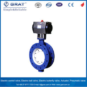 Double Flange Cast Iron Body Pneumatic Butterfly Valve Dn200 pictures & photos