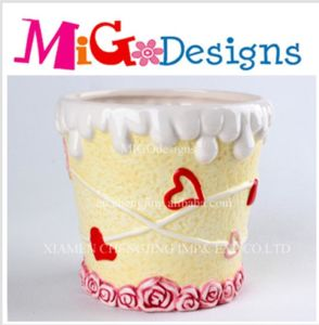 Icecream Mug Flower Decorated Ceramic Canister pictures & photos
