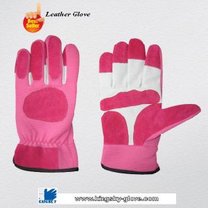 Pink Color Pig Skin Leather Mechanic Work Glove (7311) pictures & photos