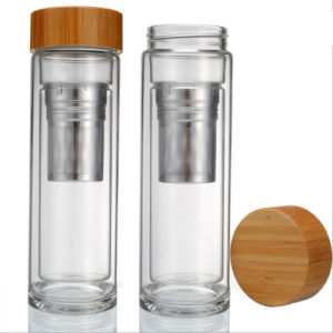 Bamboo Lid! Double Wall Tea Infuser Glass Water Bottle (DC-KS400) pictures & photos