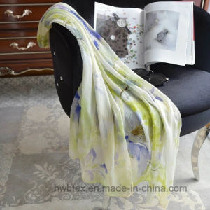 BSCI High Quality Pure Silk Georgett Printed Women′s Scarf (HWBS092) pictures & photos