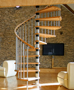 Solid Wood and Stainless Steel Spiral Staircase pictures & photos