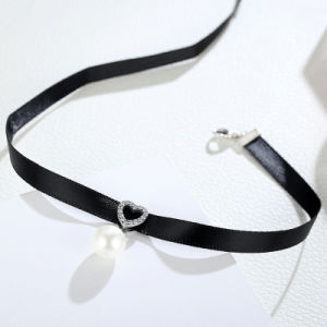 925 Sterling Silver & Black Braid Heart Pendant with Clear CZ Choker Necklace pictures & photos