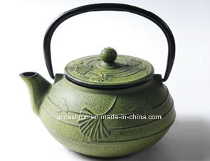Green Cast Iron Teapot 0.6L pictures & photos