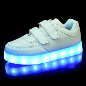Light up Shoes Kids White Straps pictures & photos