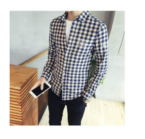 Customize High Quality Cotton Long Sleeve Oxford Cloth Man′s Plaid Shirt of Round Neck pictures & photos