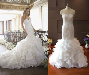 Euopean Design Ruffle Skirt Wedding Gown pictures & photos