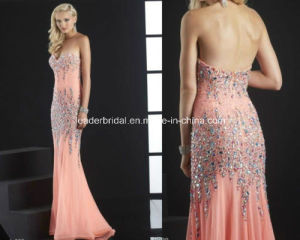 Chiffon Strapless Backless Beading Empire Sheath Evening Gowns Yao46 pictures & photos