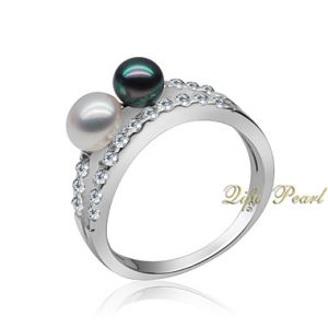 925 Silver Freshwater Pearl Finger Ring and CZ (RA0616)