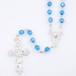 Water Blue Glass Rosary (SGR1-007)