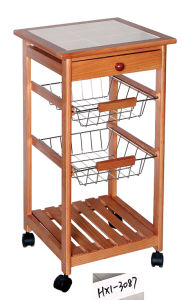 Wooden Kitchen Trolley W/ Tile Top (HX1-3087)