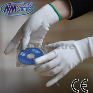 Nmsafety White Polyester Coated Polyurethane Safety Glove pictures & photos