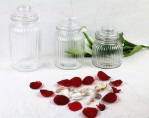 Ribbed Glass Candy Jar Storage Jar with Glass Lid pictures & photos