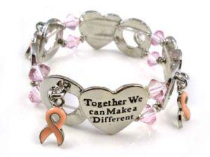 Pink Ribbon Breast Cancer Gift Metal Bracelet