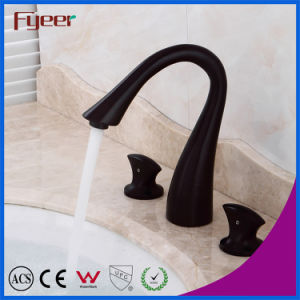 Fyeer Bathroom Black Widespread Faucet for Household and Hotel pictures & photos