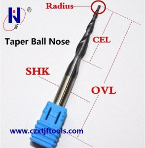Solid Carbide Taper Ball Nose End Mill HRC55 with Tixco Coating pictures & photos