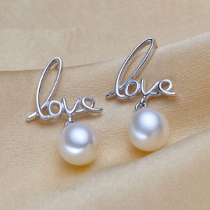 Love Shape Silver Natural Pearl Earrings pictures & photos