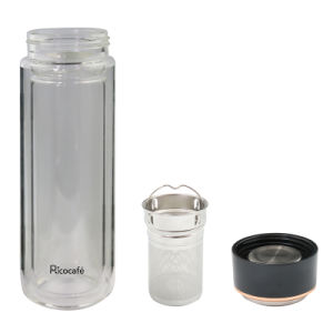 Glass Double Wall Bottle with Stainless Steel Stainer260ml pictures & photos