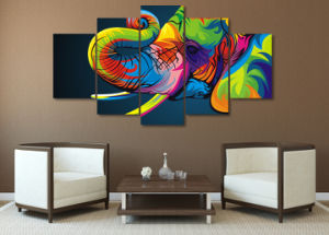 HD Printed Colorful Elephant Painting Canvas Print Room Decor Print Poster Picture Canvas Mc-074 pictures & photos