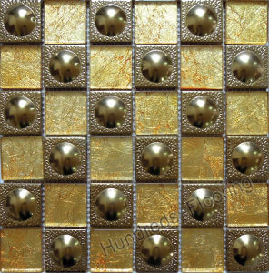 Glass Mosaic, Gold Stainless Steel Metal Mosaic (SM200) pictures & photos