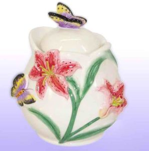 Lily Sugar Bowl with Lid Candle Holder (UCH-8008)
