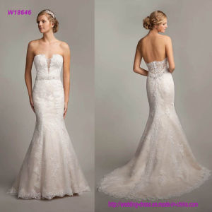 W18646 Sexy Strapless Sweetheart Neckline Lace Appliques Trumpet Wedding Dress with Open Back pictures & photos