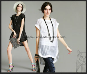 Fashion Pure Color Irregular Grenadine T Shirt W/Zipper on Side pictures & photos