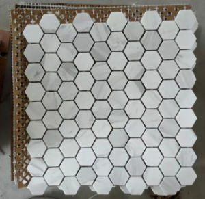 Hexagon White Marble Stone Mosaic Tile (HSM204) pictures & photos