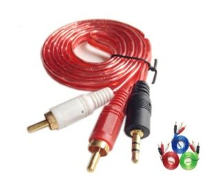 1.5m Transparent PVC 3.5mm to 2RCA Cable (ca-005) pictures & photos