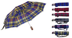 Check Fabric 3 Fold Automatic Umbrella (YS-3FA22083009R)