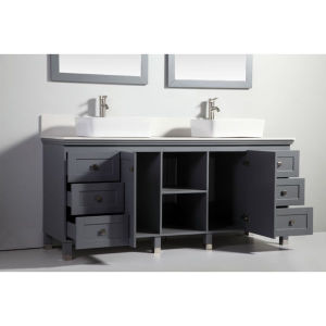72 Inch Dark Grey Solid Wood Sink Vanity with Mirror pictures & photos