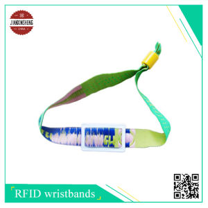 RFID Woven Wristband with Soft PVC Label, Can Laser Different Number and Uid Back of PVC Label pictures & photos