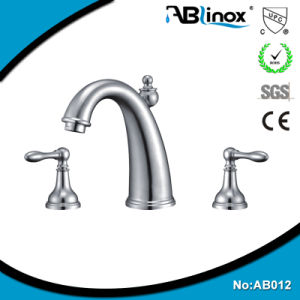 Two Handles Stainless Basin Faucet Price (AB012) pictures & photos