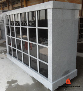 48 Niche Chinese Polished Grey Granite Columbarium with Black Door pictures & photos